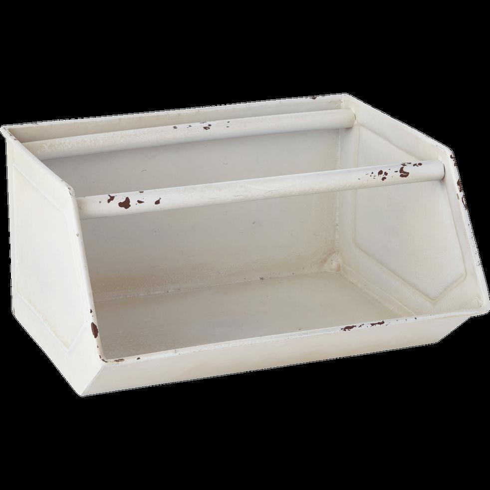 bac de rangement en m tal blanc cass 26x21x13cm. Black Bedroom Furniture Sets. Home Design Ideas