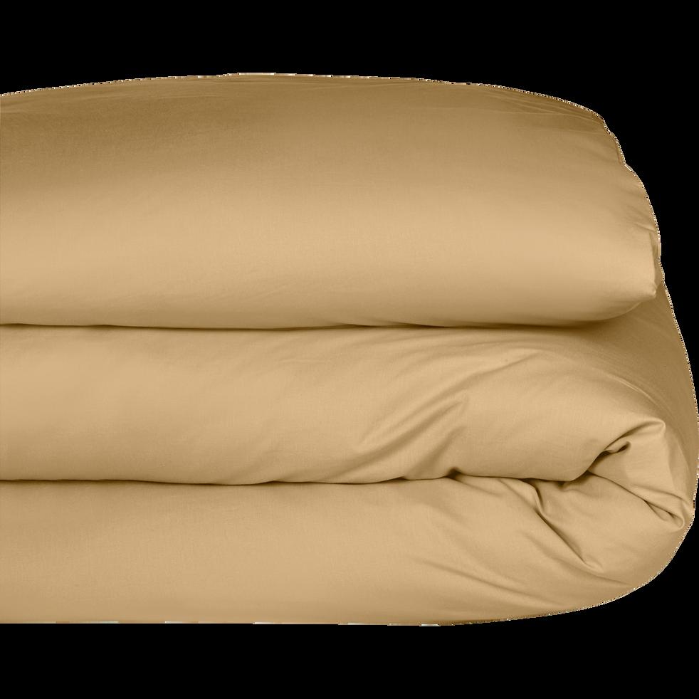 Housse de couette en percale de coton Beige nèfle 260x240cm-FLORE