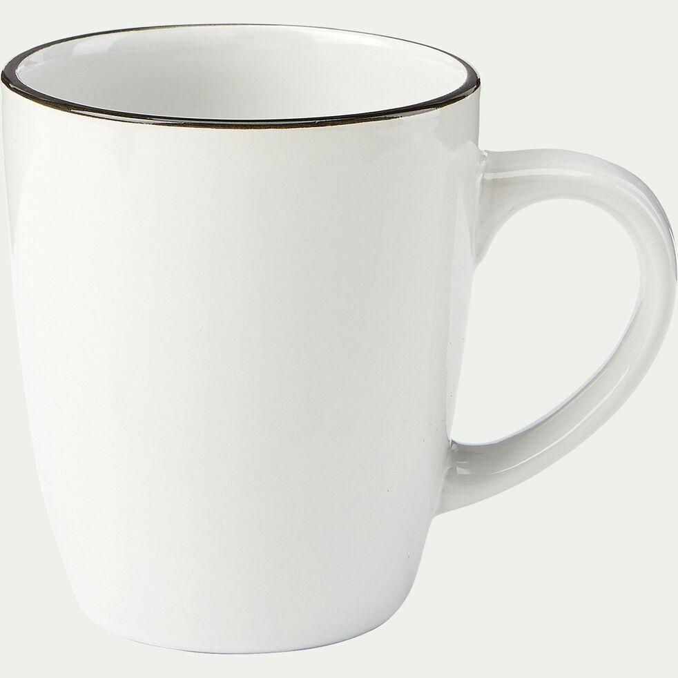 Mug en grès - blanc D8,7cm-ANNE