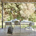 Table de jardin en aluminium - blanc (4 à 6 places)-TRAPEZI