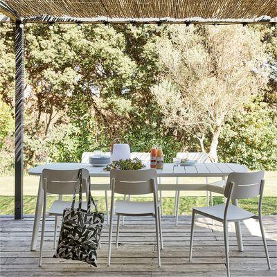 Ensemble table et chaise de jardin en aluminium - blanc
