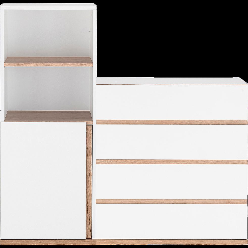 Module 1 porte et 2 niches effet chêne - blanc-NESTOR