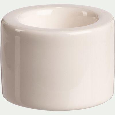 Bougeoir en céramique - blanc D6,5xH5cm-ESCALO