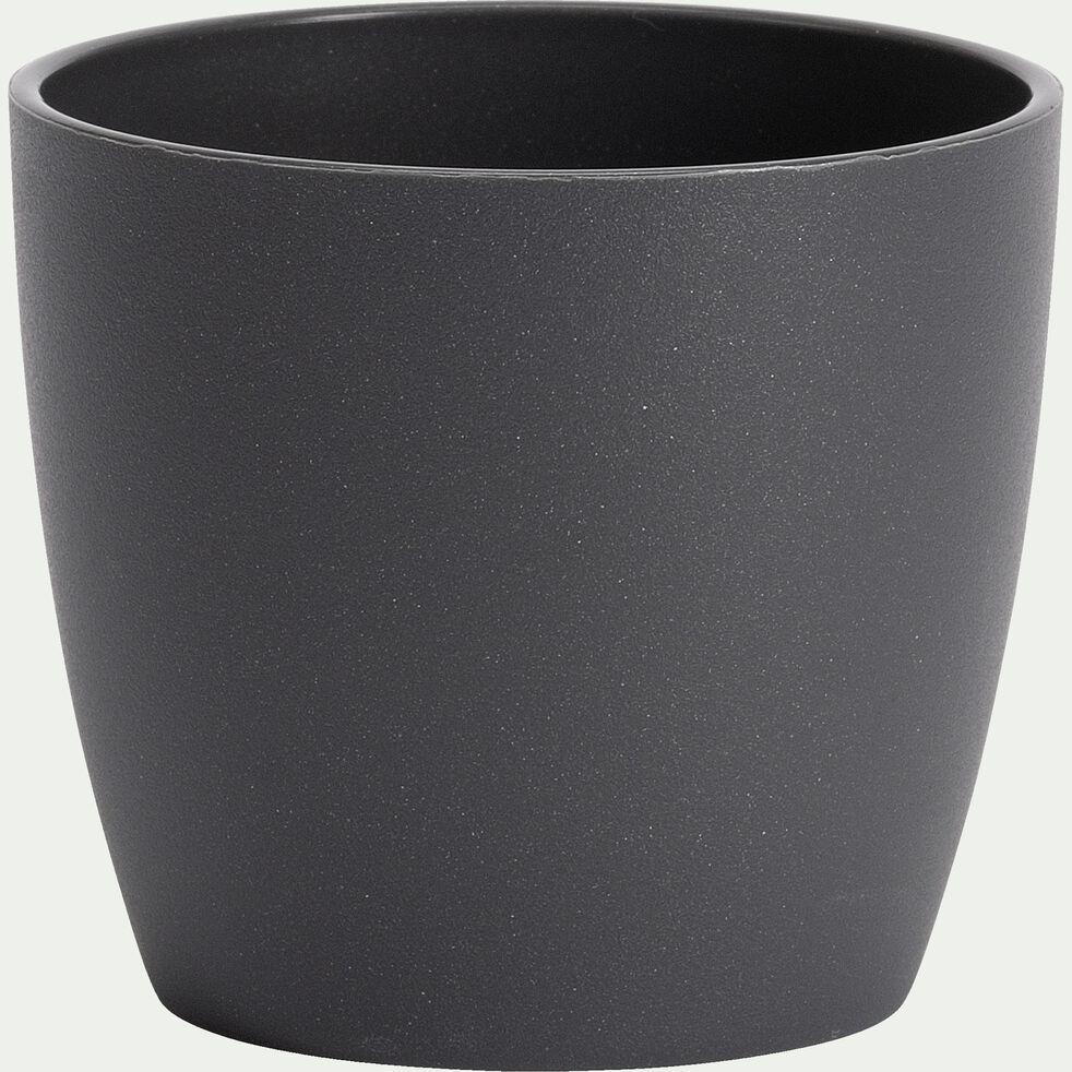 Cache-pot en plastique H6xD7cm - gris anthracite-BRUSSELS