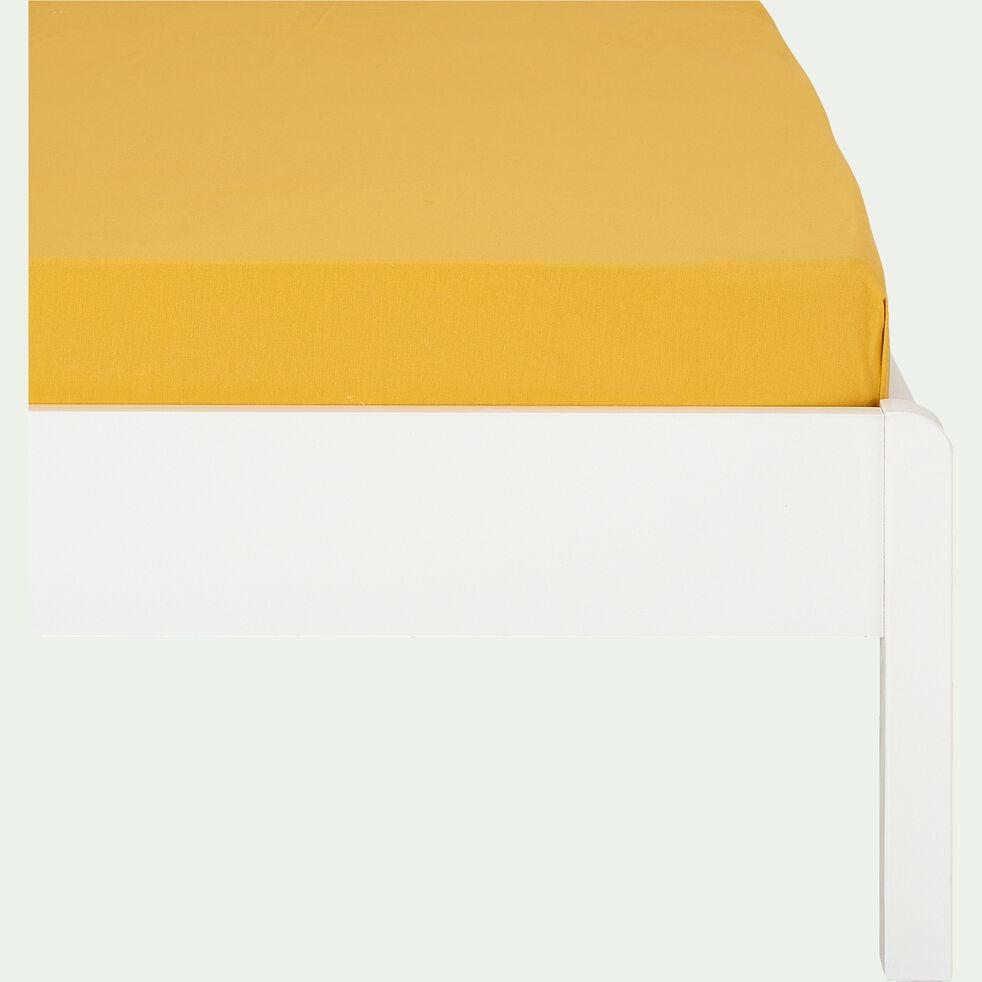 Drap housse enfant en coton 90x200+B20cm - jaune-Calanques