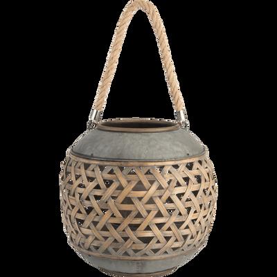 Lanterne en bambou et zinc D31xH28cm-CARI