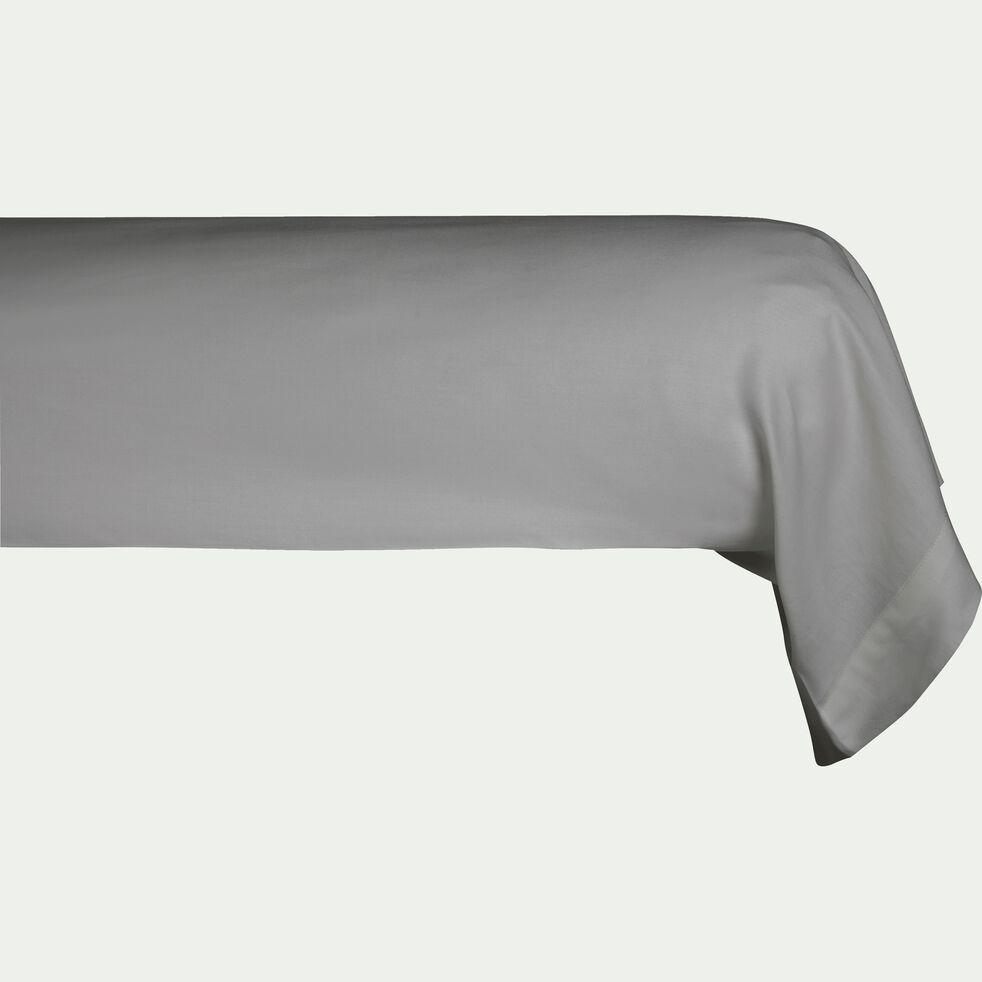Taie de traversin rayée en satin de coton - gris restanque 43x185cm-SANTIS