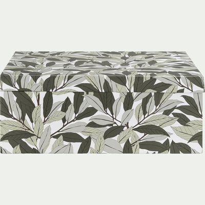Boîte en carton motif Laurier - vert L31xl22xH12cm-LAURIER