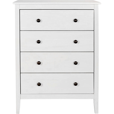 Commode 4 tiroirs en pin massif Blanc-LISON