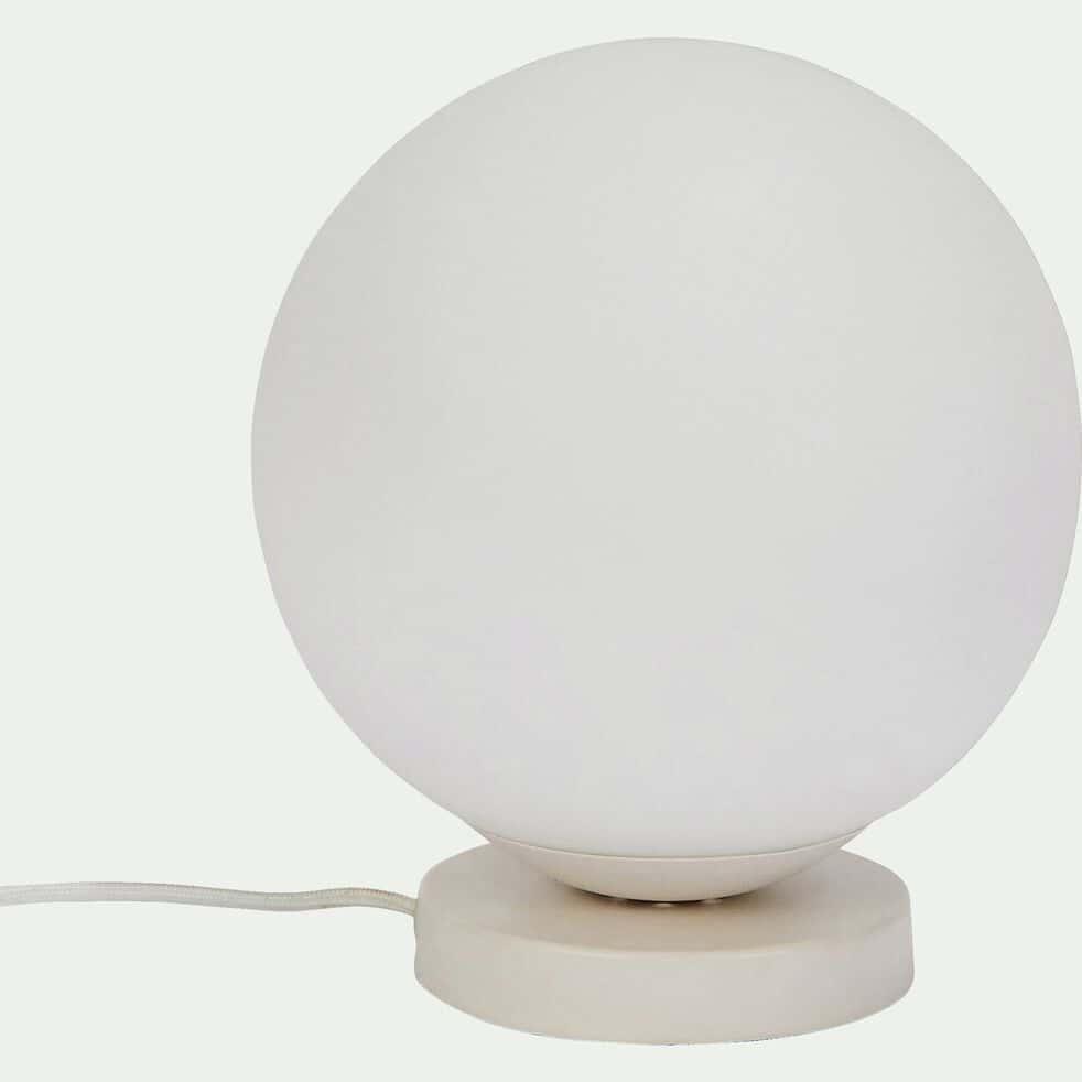 Lampe en verre opaque et métal D25xH28cm-MARCELINO
