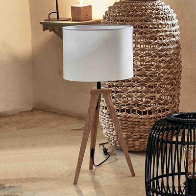 Lampe en bois et tissu - blanc capelan-TRIX