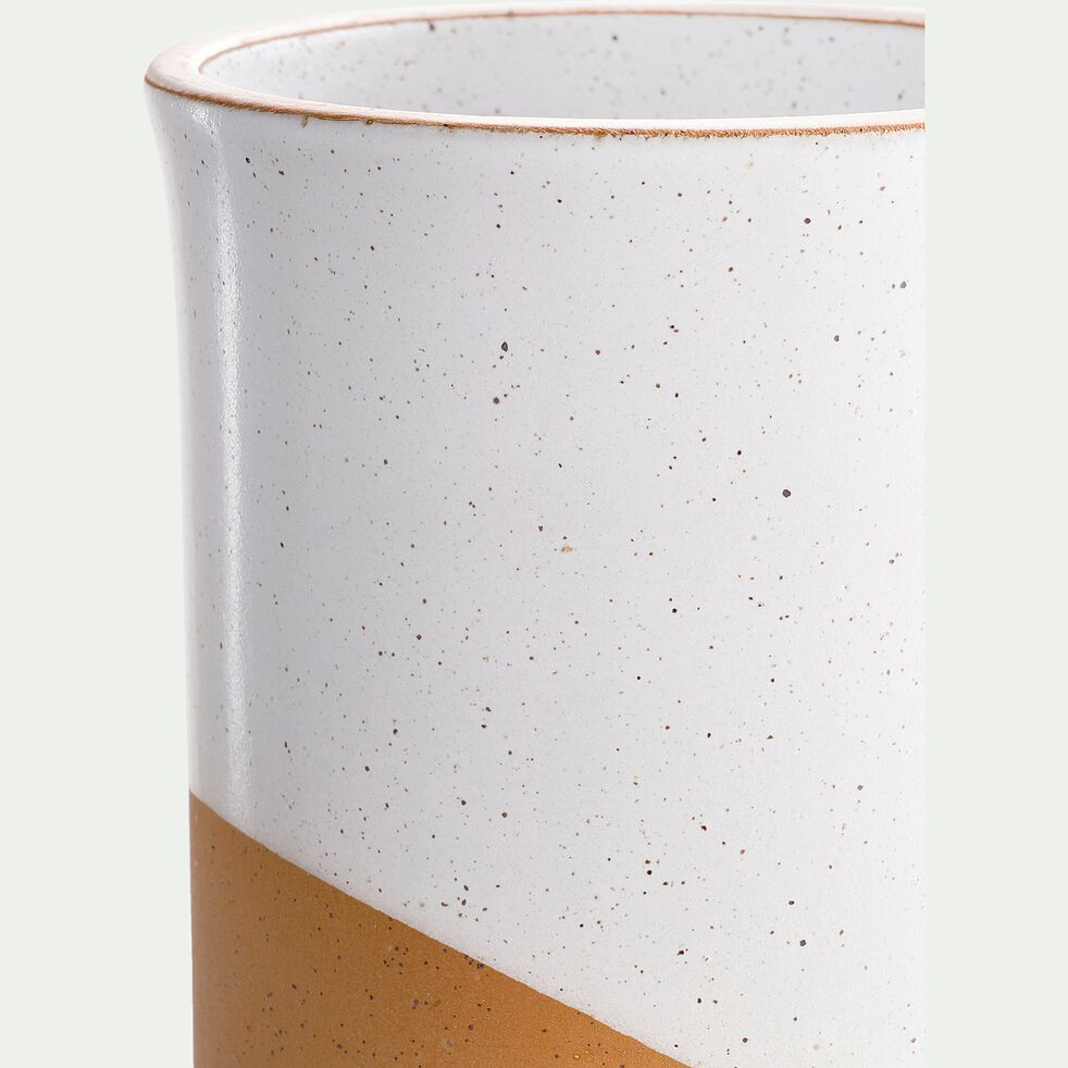 Vase en faïence blanc et marron H15cm-TUP