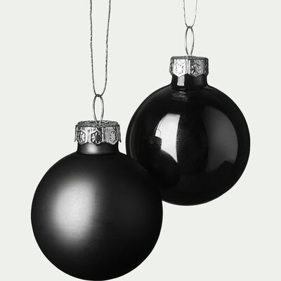 Lot de 16 boules en verre noir D3,5cm-handa
