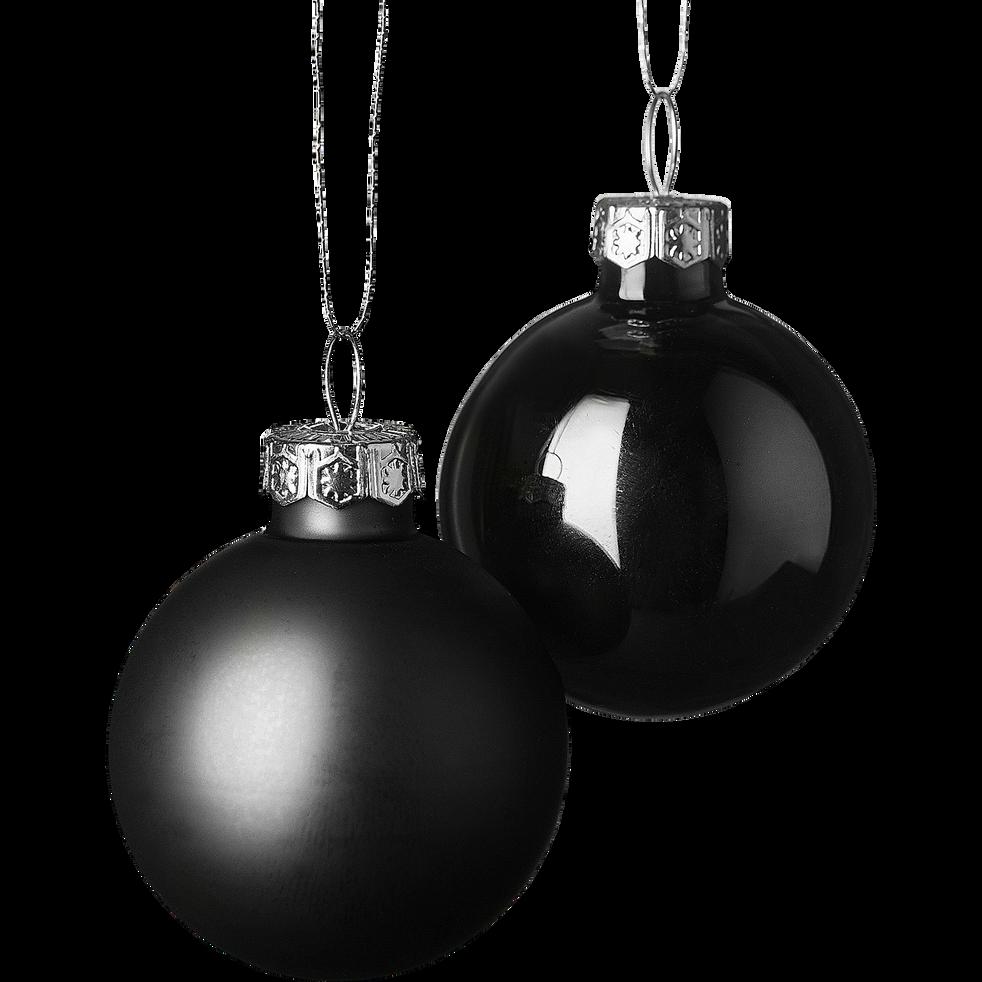 Lot de 16 boules en verre noir D3,5cm-handa