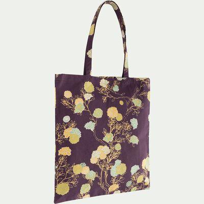 Sac en coton motif floral - violet 38x42cm-GION
