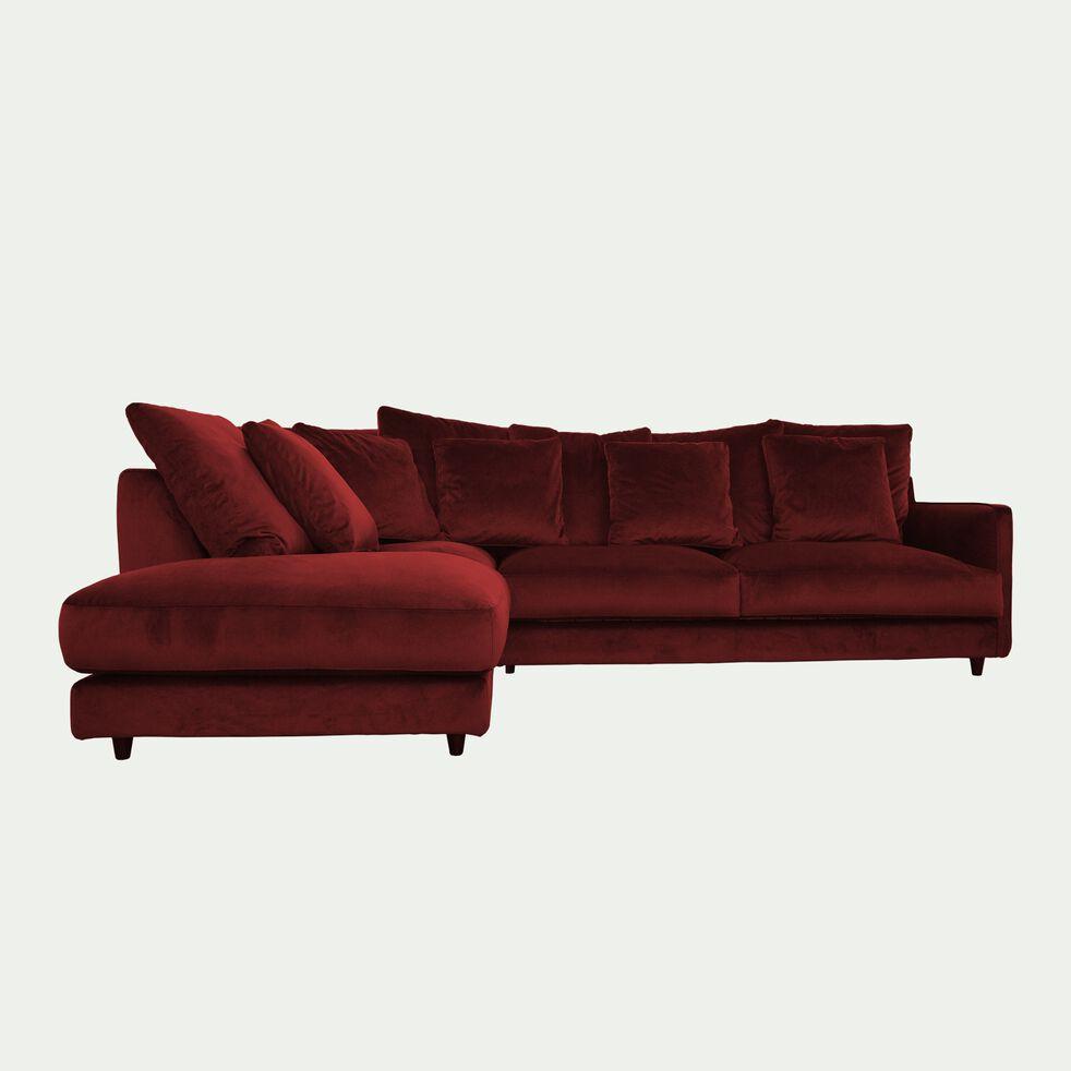 Canapé d'angle fixe gauche 5 places en velours - rouge sumac-LENITA