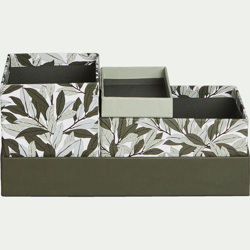 Organiseur en carton motif laurier - vert-LAURIER