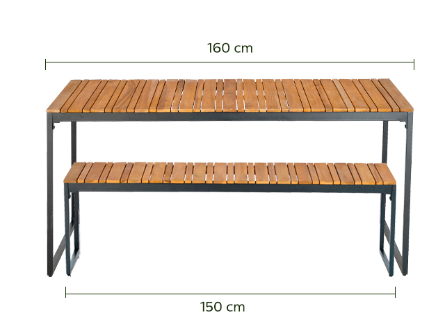 Table et bancs de jardin en acacia (4 à 6 places)-ACA
