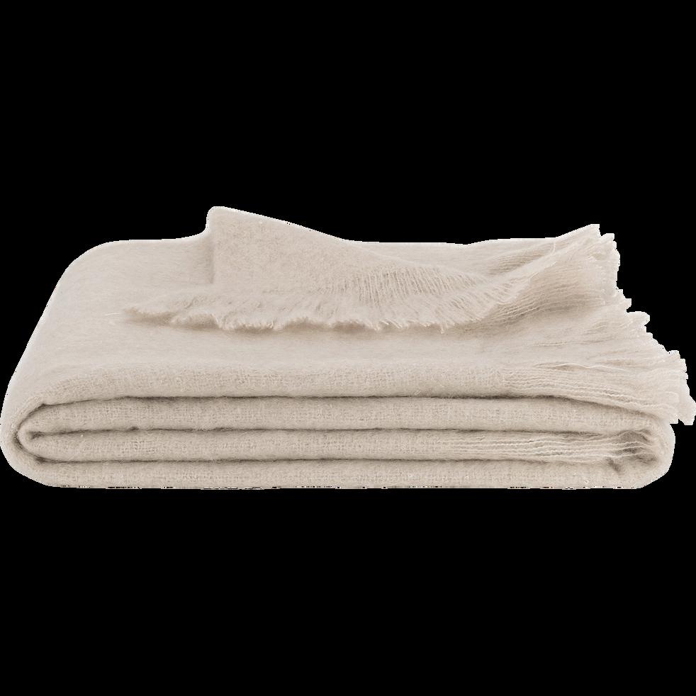 Plaid effet mohair naturel 130x170cm-VALENTINE