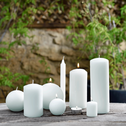 Bougie ronde blanc capelan D6cm-HALBA