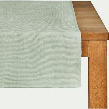 Chemin de table en lin et coton vert d'eau 45x150cm-CAPPELLA