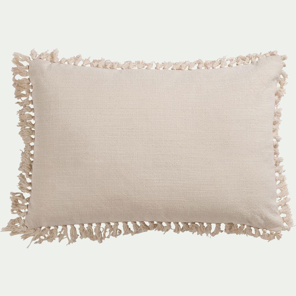 Coussin à pompons en coton - blanc écru 40x60cm-ALEXANDRIE