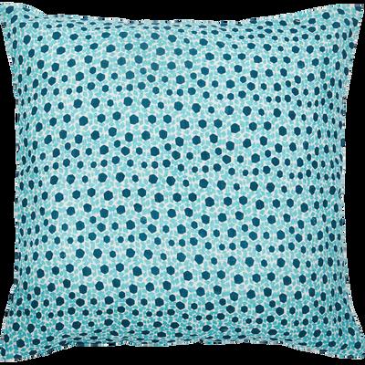 Coussin en lin imprimé bleu 50x50cm-ZELLIGES