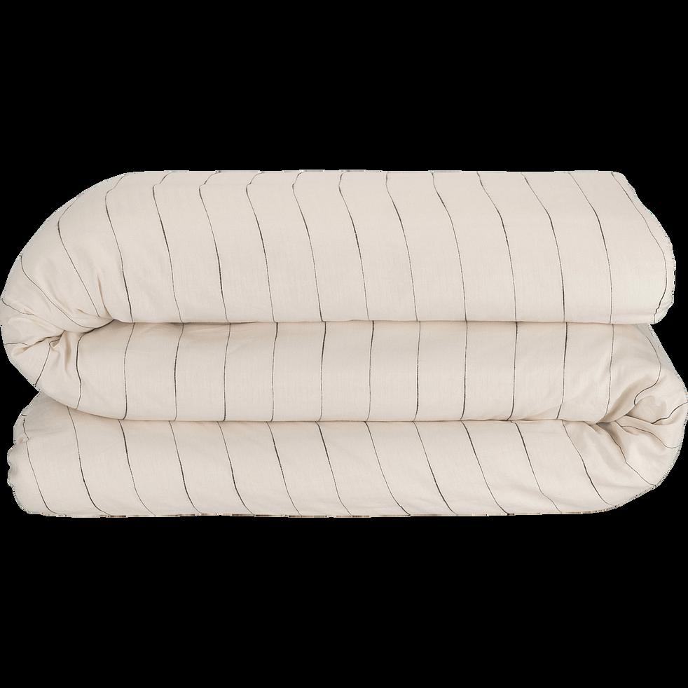 Housse de couette en coton 240x220cm à rayures-FINE