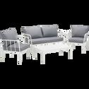 salon de jardin en aluminium blanc (4 places)-OLMETO