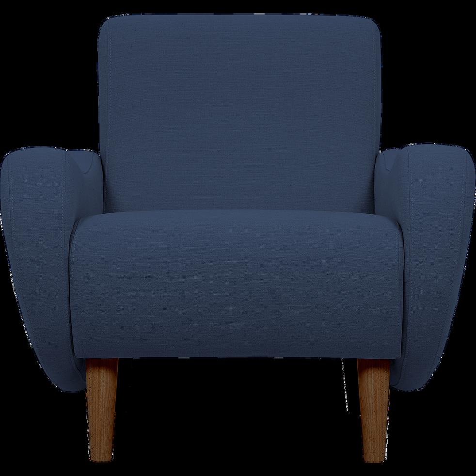 Fauteuil rétro en tissu bleu nuit-BEAN