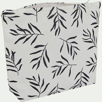 Pochette en coton motif Aloyse - noir et blanc 23x30cm-ALOYSE
