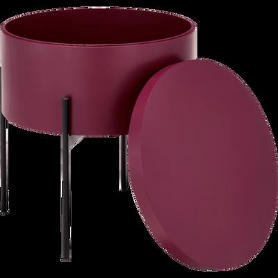 Bout de canapé rouge sumac avec coffre de rangement-DOUFINO