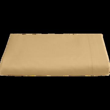 Drap plat en percale de coton  270x300 cm beige nèfle-FLORE