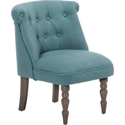 Petit fauteuil en tissu style crapaud bleu-MINI CHANTE