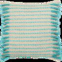 Coussin en coton écru et bleu 45x45cm-HARUKA