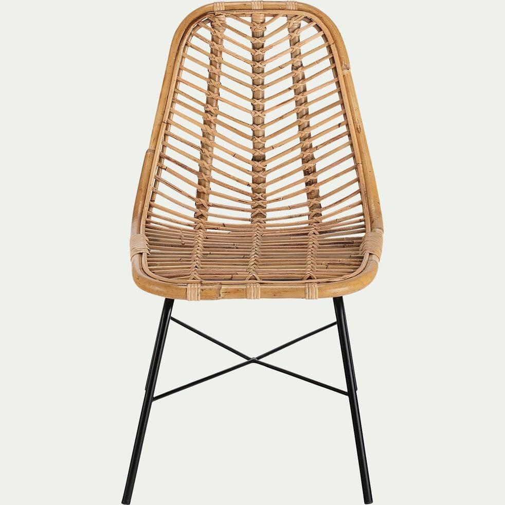 Chaise en rotin et piètement en acier  - naturel-LUPIN