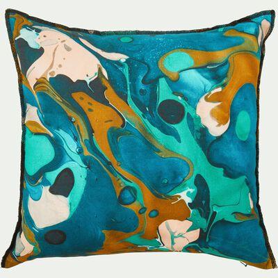 Coussin effet peinture en coton - bleu 40x40cm-TREVI