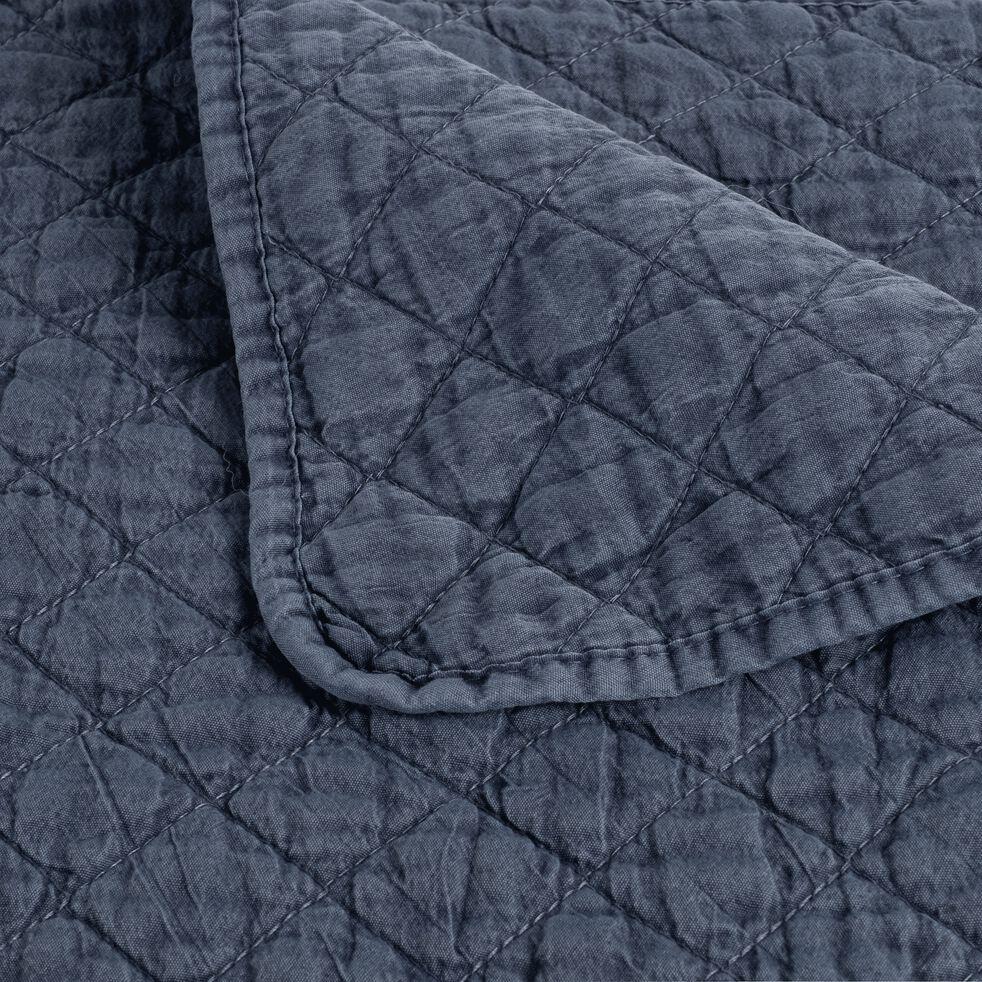 Jeté de lit effet lavé bleu figuerolles 180x230cm-THYM