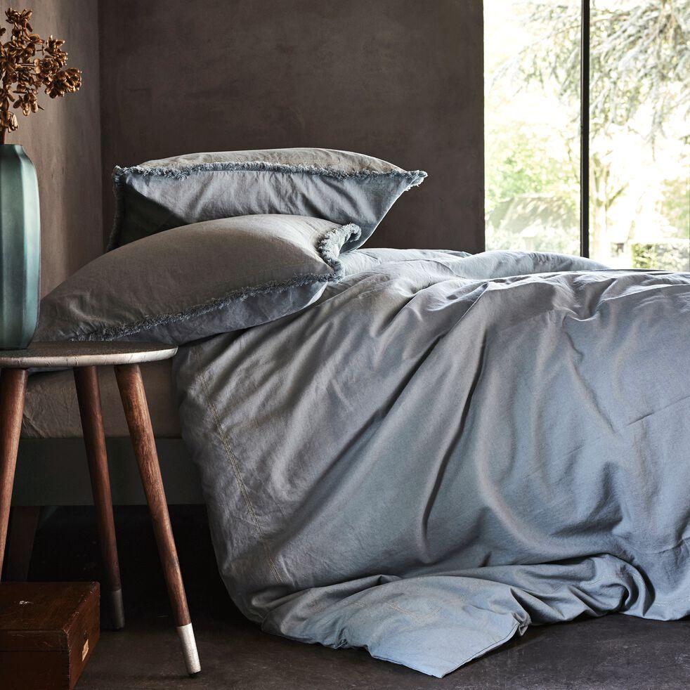 Housse de couette 240x220cm et deux taies d'oreillers métisses bleues-NAYA