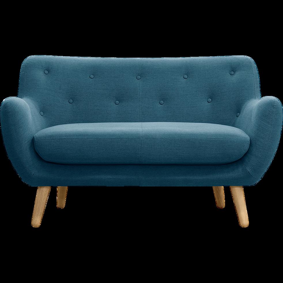canap 2 places fixe bleu p trole poppy canap s droits en tissu alinea. Black Bedroom Furniture Sets. Home Design Ideas