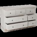 Commode 7 tiroirs en contreplaqué pin brossé blanchi-JALOUSIE
