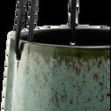Cache-pot à suspendre en céramique vert D12 cm-Ferrare