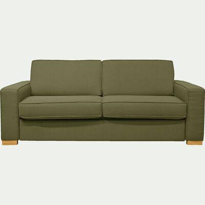 Canapé 3 places convertible en lin vert garrigue et matelas 16cm à mémoire de forme-CALIFORNIA