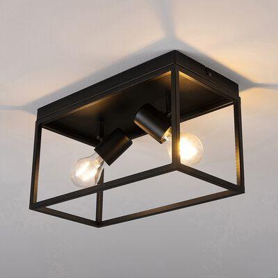 Plafonnier en acier - L36xl18xH20,5cm noir-SILENTINA