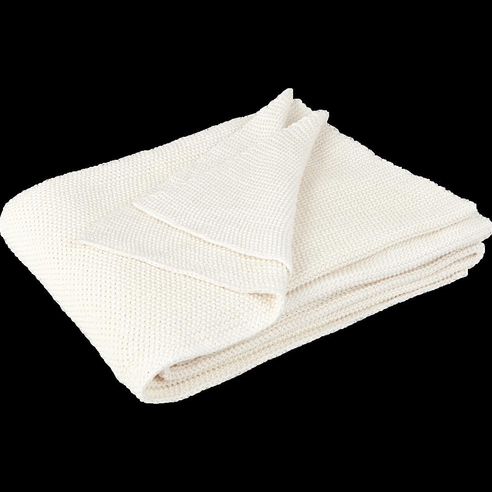 plaid tricot en coton blanc ventoux 130x170cm verdon 130x170 cm inspirations et cadeaux. Black Bedroom Furniture Sets. Home Design Ideas