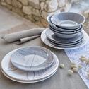 Assiette à dessert en grès gris restanque décoré D21cm-LAURIER