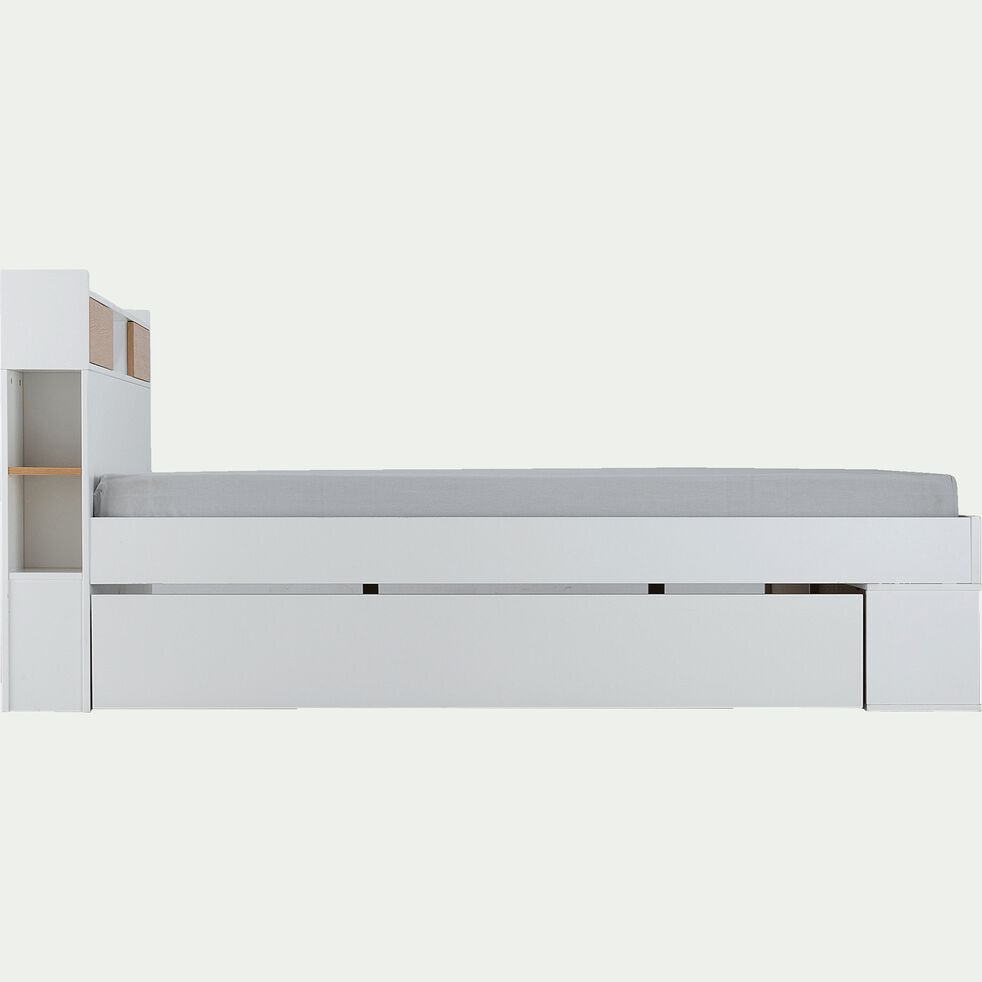 Lit blanc avec multiples rangements 140x200cm-ROC