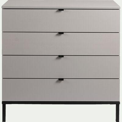 Commode 4 tiroirs en plaqué bois - gris-CASTEL