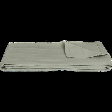 Plaid tissé en coton vert olivier 180x230cm-BELCODENE