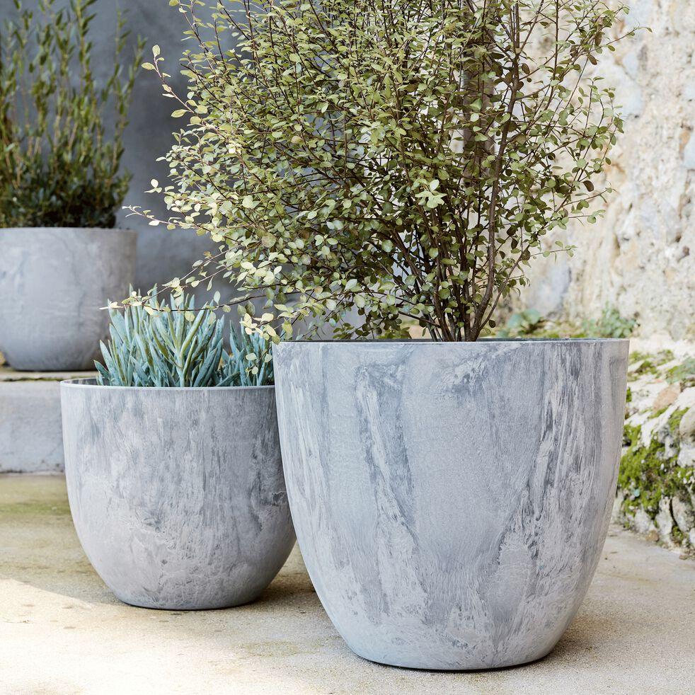 Pot à réserve d'eau - gris H33cm-BOLA
